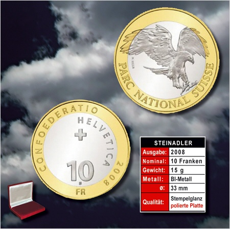 10 Frsonder Münze 2008 Bimetall Steinadler