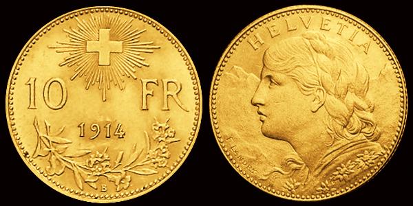 10 Franken Goldvreneli 1914