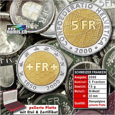 Sonder Fünfliber 2000 150 Jahre Schweizer Franken