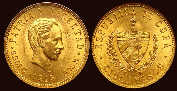 Goldmünze Kuba 5 Pesos 1916