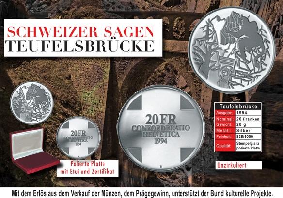 20 Frsonder Münze 1994 Teufelsbrücke